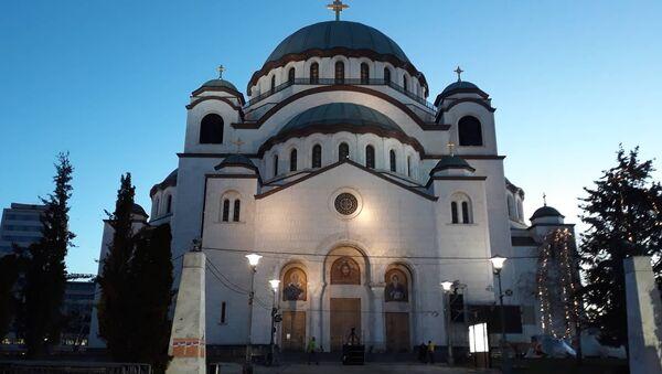 Завршне припреме испред Храма Светог Саве - Sputnik Србија