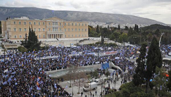 Demonstranti ispred zgrade parlamenta u Atini - Sputnik Srbija