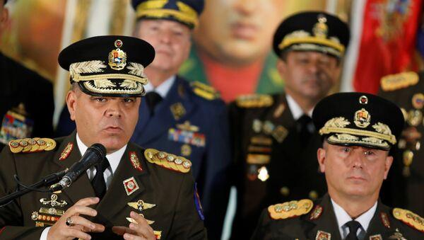 Ministar odbrane Venecuele Vladimir Padrino Lopes govori na konferenciji za medije u Karakasu - Sputnik Srbija