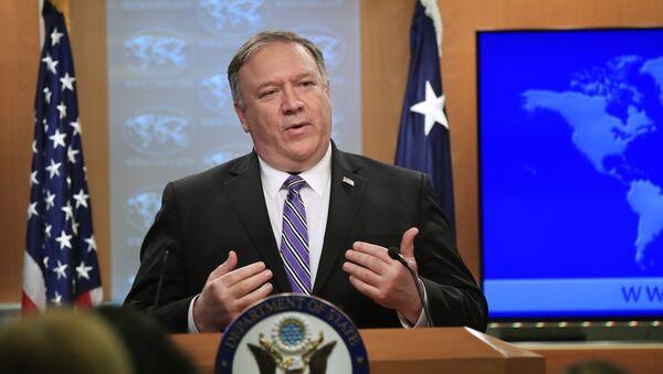 Амерички државни секретар Мајк Помпео говори на конференцији за медије у Вашиндгтону - Sputnik Србија