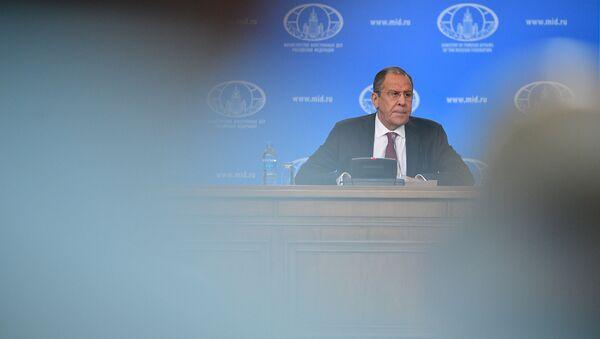 Министар спољних послова Русије Сергеј Лавров на конференцији за медије у Москви - Sputnik Србија
