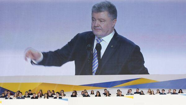 Председник Украјине Петро Порошенко обраћа се присталицама на митингу у Кијеву - Sputnik Србија