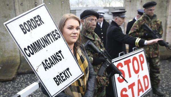 Demonstranti nose plakate na granici Severne Irske i Republike Irske - Sputnik Srbija