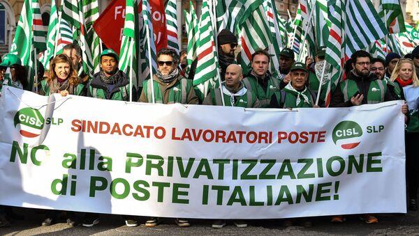 Протести синдикалаца у Риму - Sputnik Србија