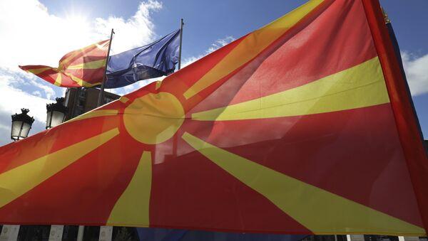 Подизање заставе НАТО у Скопљу - Sputnik Србија
