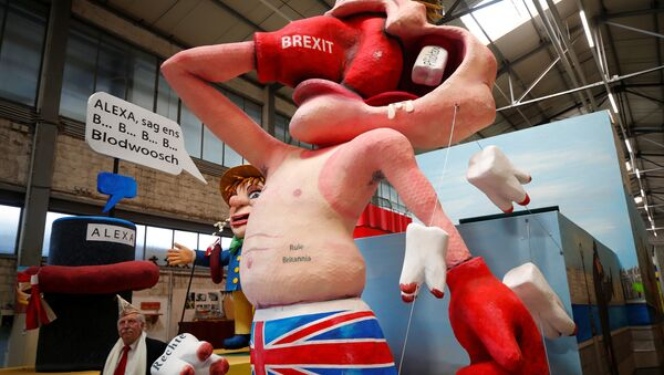 Лутка, пародија британског туристе који се удара боксерском рукавицом на којој пише брегзит на карневалу у Келну 26. фебруара 2019. - Sputnik Србија