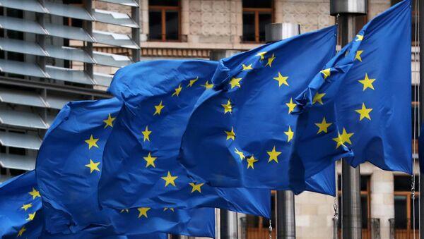 Заставе ЕУ исред седишта ЕУ у Бриселу - Sputnik Србија