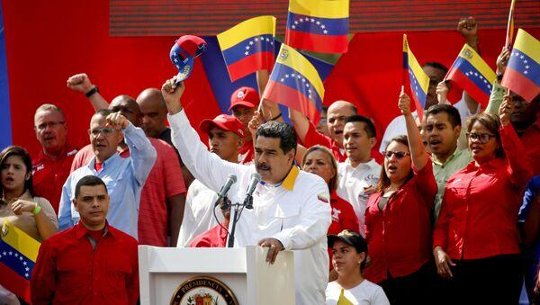 Председник Венецуеле Николас Мадуро на анти-империјалистичком маршу за мир у Каракасу - Sputnik Србија