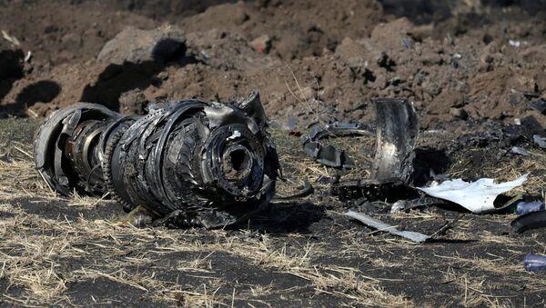 Делови мотора авиона на месту пада авиона на лету ЕТ 30 компаније Етиопијан ерлајнс југоисточно од Адиса Абебе - Sputnik Србија