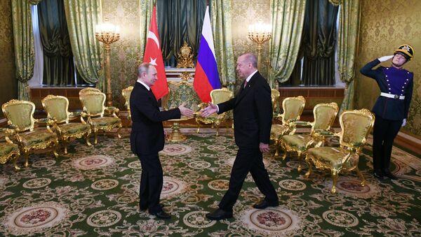 Председници Русије и Турске Владимир Путин и Реџеп Тајип Ердоган на састанку у Москви - Sputnik Србија
