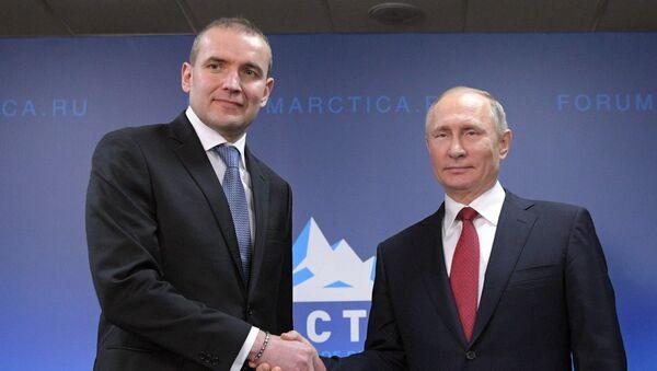 Predsednici Islanda i Rusije, Gudni Johaneson i Vladimir Putin - Sputnik Srbija