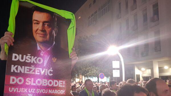 """Демонстранти носе транспарент на којем је портрет председника """"Атлас групе"""" Душка Кнежевића - Sputnik Србија"""