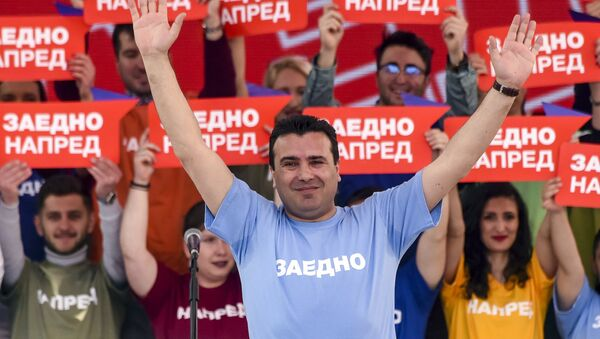 Premijer Severne Makedonije i lider SDSM-a Zoran Zaev na predizbornom mitingu u Skoplju. - Sputnik Srbija