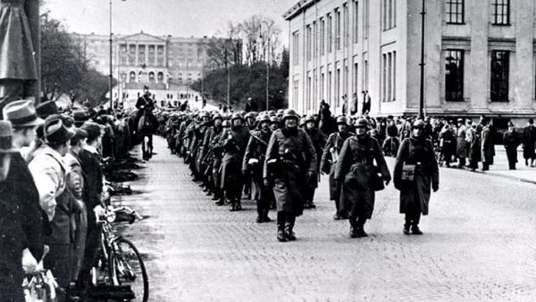 Немачки војници марширају кроз Осло 9. априла 1940. - Sputnik Србија