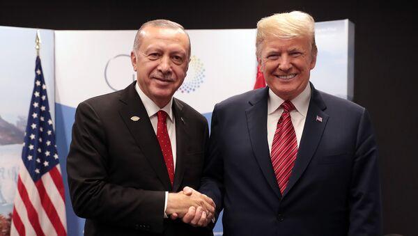Predsednici Turske i Sjedinjenih Američkih Država Redžep Tajip Erdogan i Donald Tramp na marginama samita G20 u Argentini - Sputnik Srbija