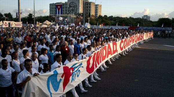 Првомајски протест Кубанаца против америчког мешања у Венецуели - Sputnik Србија