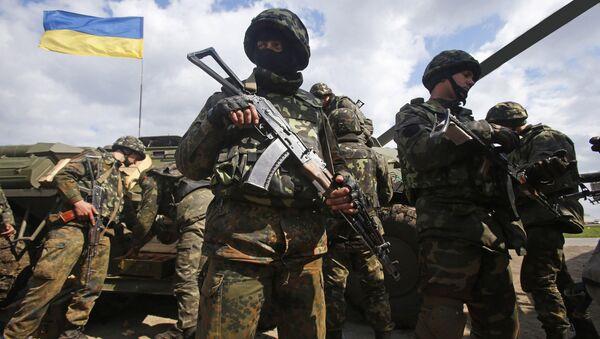 Украјински војници на линији разграничења у Донбасу - Sputnik Србија