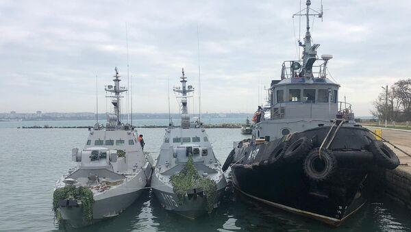 Заплењени украјински бродови у Керчком мореузу - Sputnik Србија
