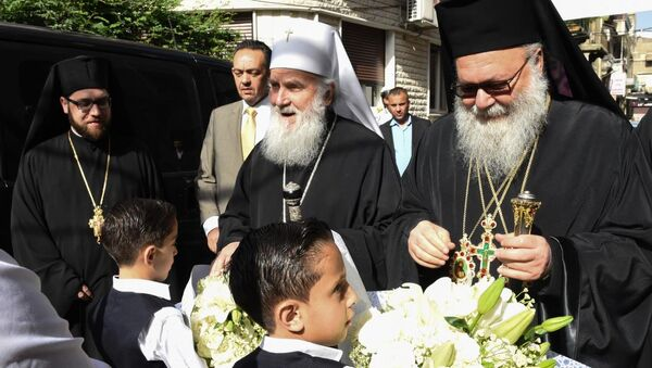 Patrijarh Irinej u Siriji - Sputnik Srbija