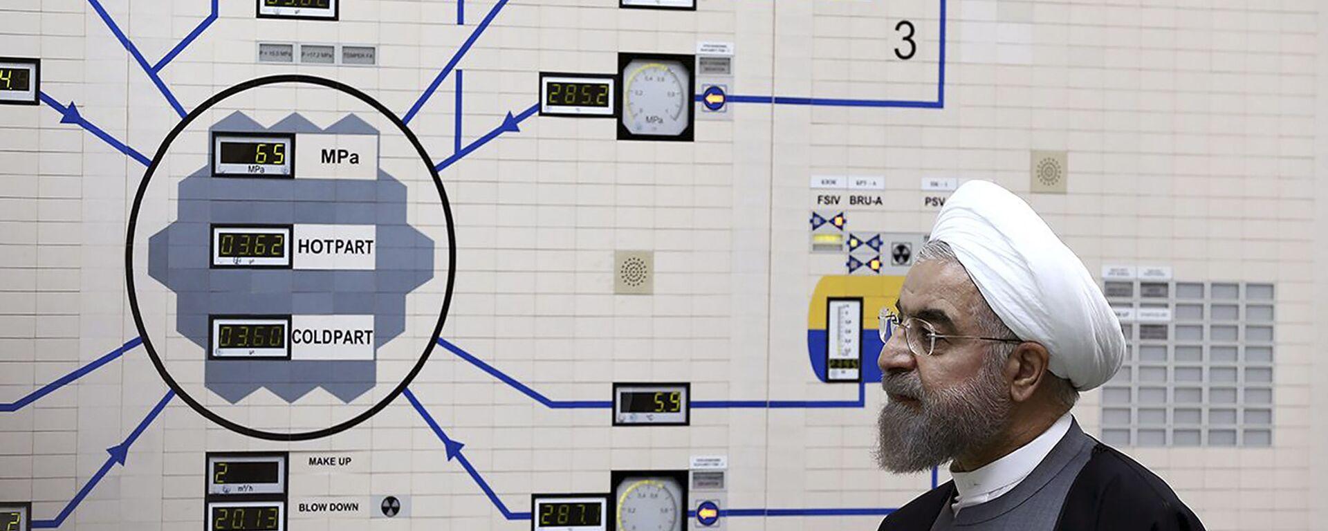 Ирански председник Хасан Рухани у иранској нуклеарној електрани Бушер - Sputnik Србија, 1920, 26.05.2021