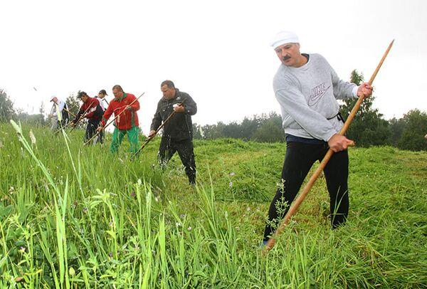 """Aleksandar Lukašenko kosi travu u svojoj rezidenciji """"Drozdi"""" 2009. godine. - Sputnik Srbija"""
