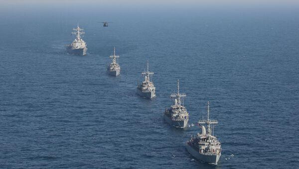 Brodovi američke ratne mornarice razarači Devastejtor, Gladijator, Sentri, Dekstrou, Mejson i helikopter Si dragon u Arapskom moru - Sputnik Srbija
