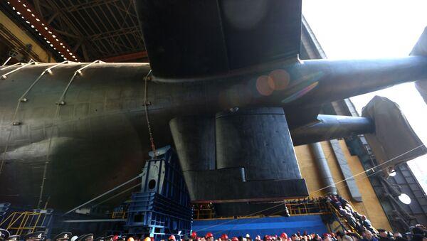 Спуск на воду атомной подводной лодки Белгород в Архангельской области  - Sputnik Србија