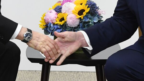 Rukovanje predsednika Rusije i SAD, Vladimira Putina i Donalda Trampa - Sputnik Srbija