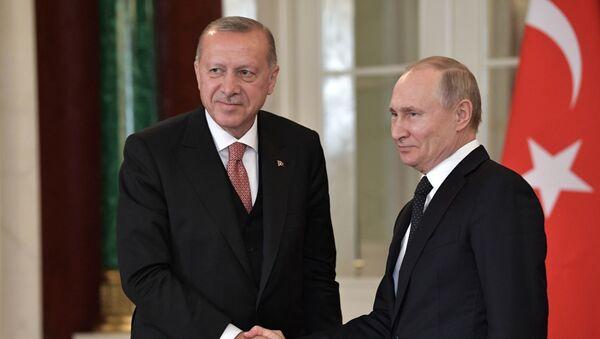 Predsednici Turske i Rusije Redžep Tajip Erdogan i Vladimir Putin  - Sputnik Srbija