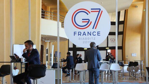 Pres-centar u okviru samita G7 u francuskom Bijaricu - Sputnik Srbija