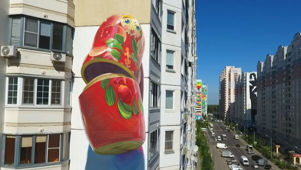 Gigantski grafiti na ruskim višespratnicama - Sputnik Srbija