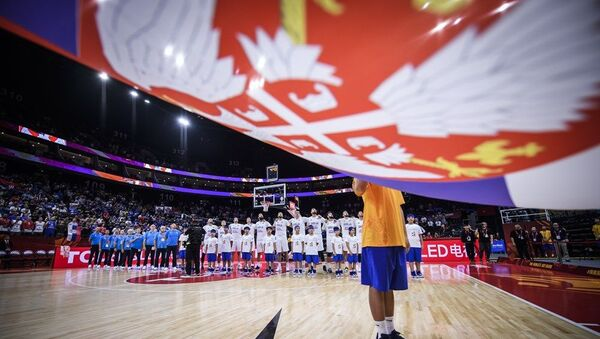 Репрезентативци Србије током интонирања химне - Sputnik Србија