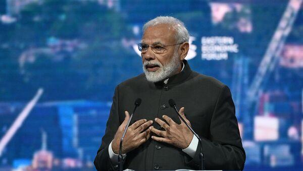 Premijer Indije Narendra Modi govori na Istočnom ekonomskom forumu u Vladivostoku - Sputnik Srbija