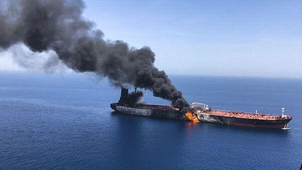 Запаљени танкер у Персијском заливу - Sputnik Србија