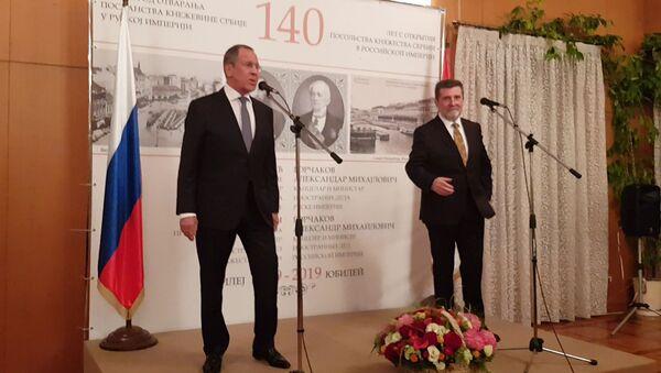 Шеф руске дипломатије Сергеј Лавров на опроштајном пријему код српског амбасадора Славенка Терзића - Sputnik Србија