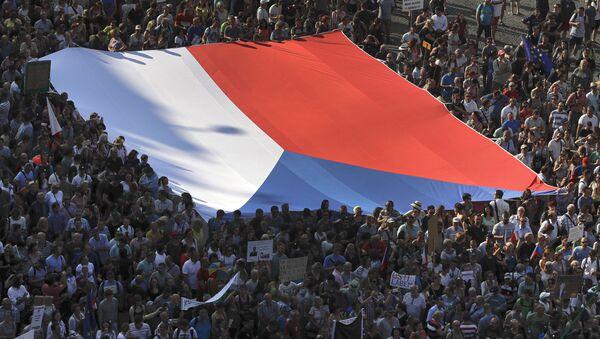 Češka zastava na protestima u Pragu - Sputnik Srbija