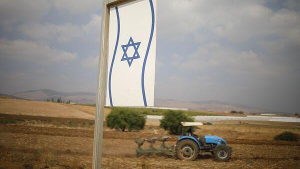 Палестинац обрађује земљу у околини Бардале на Западној обали. - Sputnik Србија