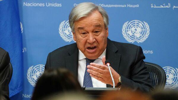 Generalni sekretar UN Antonio Gutereš govori na konferenciji za medije u sedištu Ujedinjenih nacija u Njujorku - Sputnik Srbija