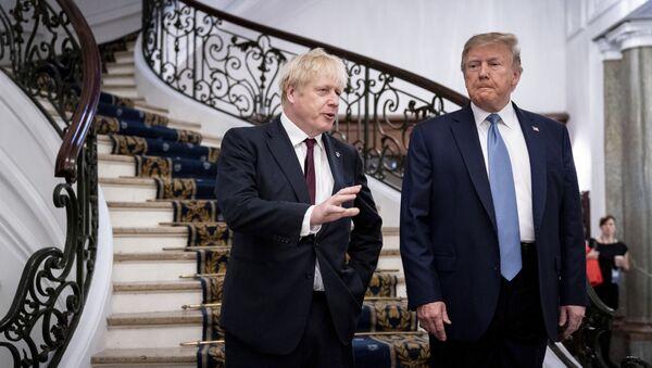 Premijer Velike Britanije Boris Džonson i predsednik SAD Donald Tramp nakon sastanka na marginama G7 u francuskom Bijaricu - Sputnik Srbija