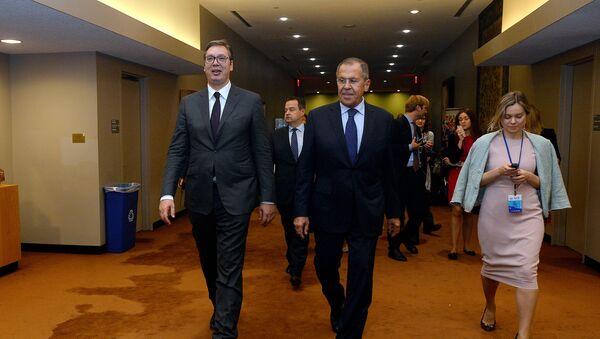 Aleksandar Vučić i Sergej Lavrov u Njujorku - Sputnik Srbija