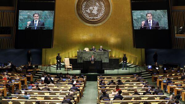 Predsednik Hondurasa Huan Orlando Ernandez Alvarado obraća se 74. sednici Generalne skupštine UN - Sputnik Srbija