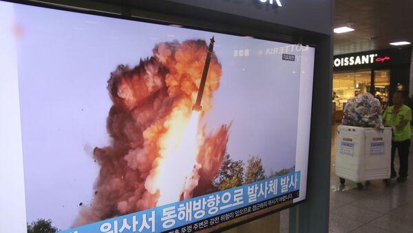 Извештај јужнокорејске телевизије о лансирању балистичке ракете у Северној Кореји - Sputnik Србија