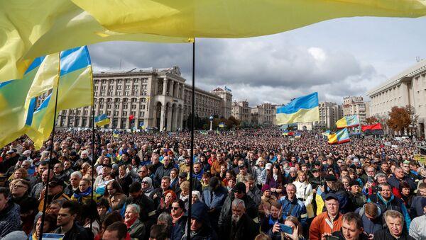 Demonstranti na protestu protiv Štajnmajerove formule u Kijevu - Sputnik Srbija
