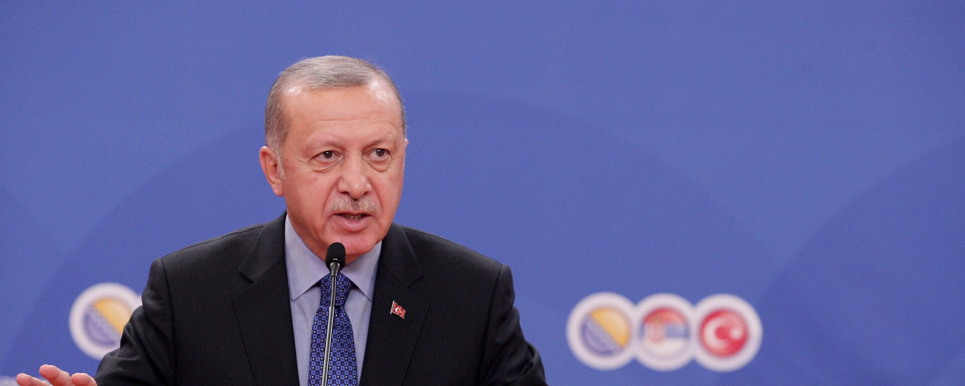 Redžep Tajip Erdogana na konferenciji za novinare posle Trilateralnog sastanka - Sputnik Srbija, 1920, 26.09.2021