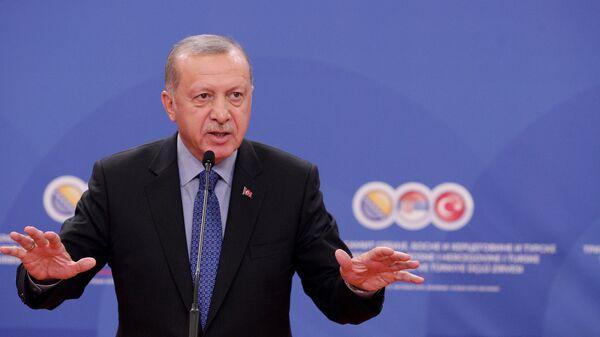 Redžep Tajip Erdogana na konferenciji za novinare posle Trilateralnog sastanka - Sputnik Srbija