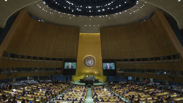 Ministar spoljnih poslova Rusije Sergej Lavrov govori na 74. zasedanju Generalne skupštine UN u Njujorku - Sputnik Srbija