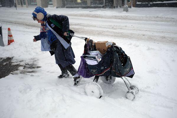 Жена поштар вуче своја поштарска колица по снегом покривеној улици током зимске олује у Њујорку, 9. фебруара 2017. године. - Sputnik Србија