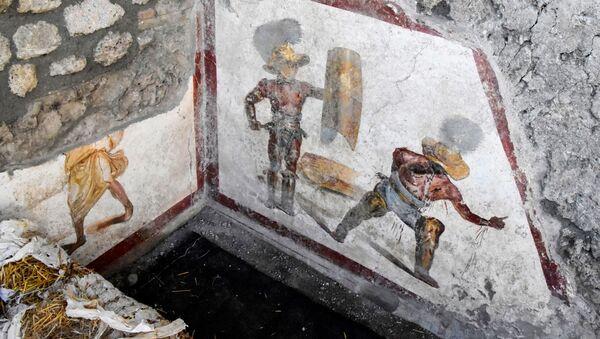 Freska, na kojoj je prikazana borba gladijatora, Pompeja - Sputnik Srbija
