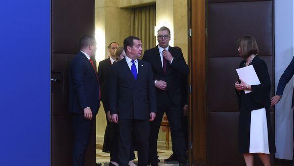 Састанак председника Србије Александра Вучића и руског премијера Дмитрија Медведева - Sputnik Србија