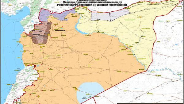 Мапа реализације споразума Руске Федерације са Турском у Сирији - Sputnik Србија